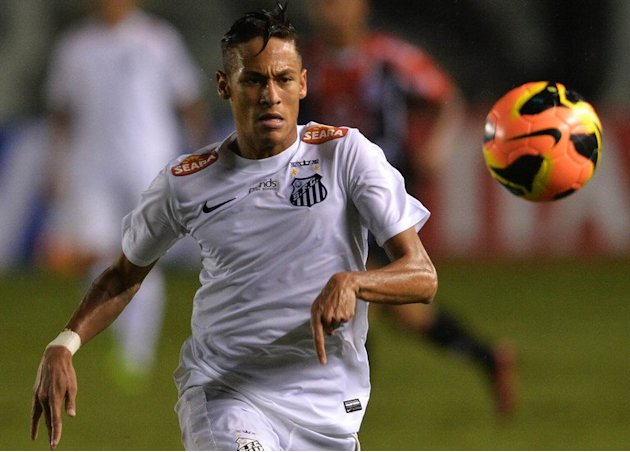 Brazilian striker Neymar in action for Santos in their Copa do Brasil match against Joinville on May 22, 2013