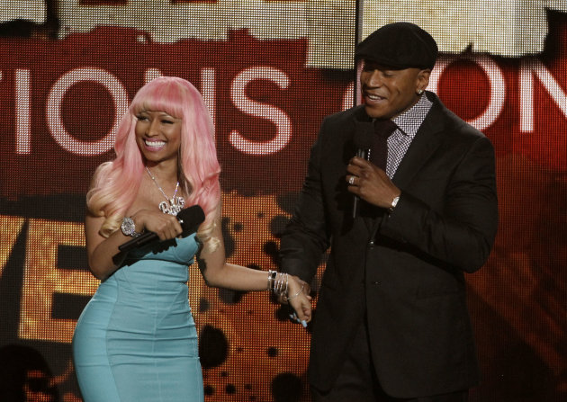 Nicki Minaj , left and LL Cool J are seen at the Grammy Nominations Concert on Wednesday, Nov. 30, 2011 in Los Angeles. (AP Photo/Matt Sayles)