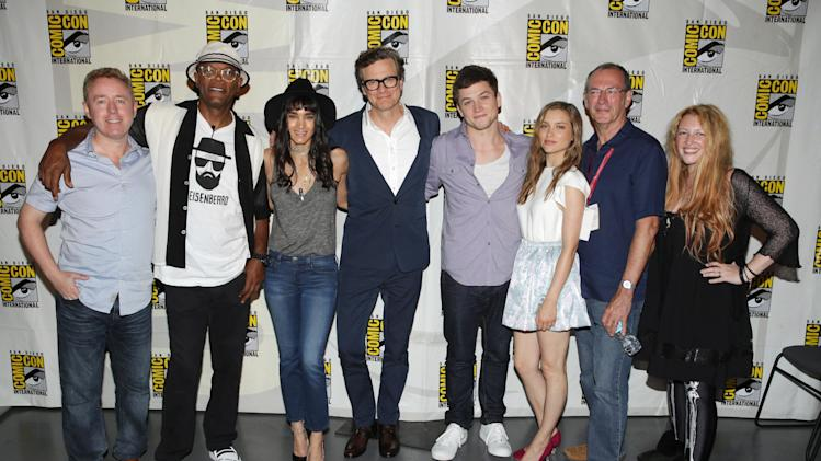 Writer Mark Millar, Samuel L. Jackson, Sofia Boutella, Colin Firth, Taron Egerton, Sophie Cookson, Writer Dave Gibbons and Screenwriter Jane Goldman seen at Twentieth Century Fox Panel at 2014 Comic-Con on Friday, July 25, 2014, in San Diego, Calif. (Photo by Eric Charbonneau/Invision for Twentieth Century Fox/AP Images)