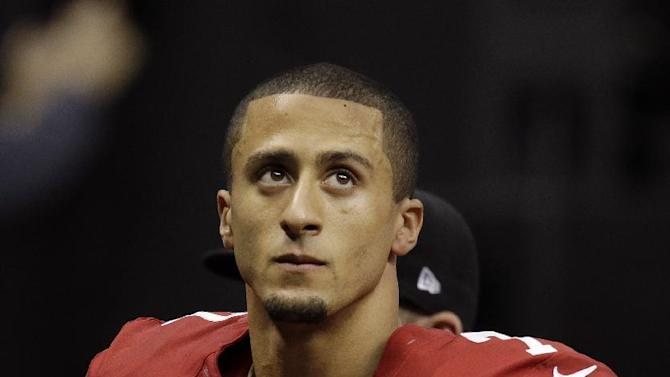 San Francisco 49ers quarterback Colin Kaepernick (7) looks up after the Baltimore Ravens scored a touchdown during the first half of the NFL Super Bowl XLVII football game, Sunday, Feb. 3, 2013, in New Orleans. (AP Photo/Gene Puskar)