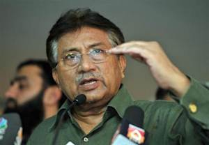 Pakistan's former President Pervez Musharraf speaks during a news conference in Dubai
