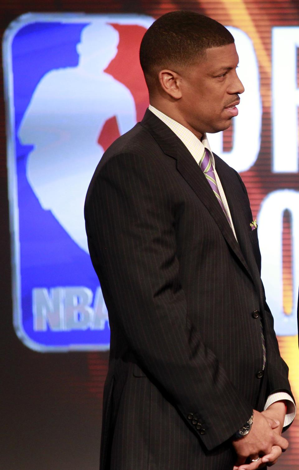 Former NBA player and current Mayor of Sacramento, Kevin Johnson, is seen in the NBA Entertainment studios during the 2011 NBA basketball draft lottery, Tuesday, May 17, 2011 in Secaucus, N.J. (AP Photo/Julio Cortez)
