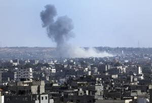 Smoke rises after an Israeli missile strike hit the …
