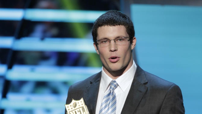 Luke Kuechly of the Carolina Panthers accepts the AP Defensive Rookie of the Year award at the 2nd Annual NFL Honors on Saturday, Feb. 2, 2013 in New Orleans. (Photo by AJ Mast/Invision/AP)