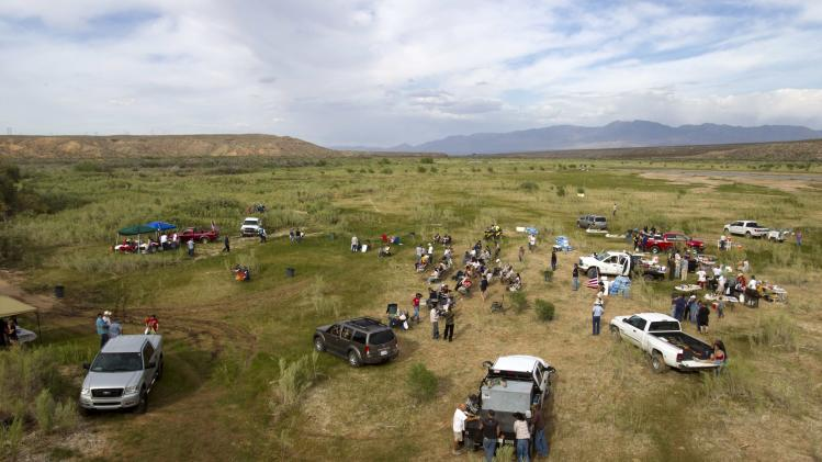 "Supporters of rancher Cliven Bundy gather for a Bundy family ""Patriot Party"" near Bunkerville, Nevada"