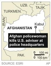 Map locates Kabul, Afghanistan, where a U.S. adviser was killed