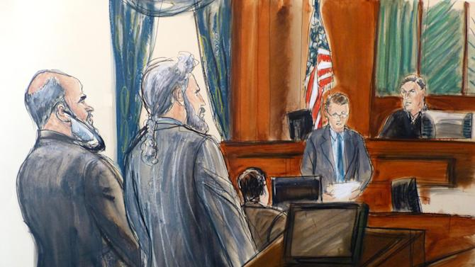 In this courtroom sketch, from left, Sulaiman Abu Ghaith stands next to his attorney, Stanley Cohen, as courtroom deputy Andrew Mohan, reads the verdict and Judge Lewis Kaplan, right, listens, Wednesday, March 26, 2014 at federal court in New York. Abu Ghaith, Osama bin Laden's son-in-law and the voice of fiery al-Qaida propaganda videotapes after the Sept. 11 attacks, was convicted Wednesday of conspiring to kill Americans for his role as the terror group's spokesman. The verdict came after about six hours of deliberation over two days in the case against Abu Ghaith, the highest-ranking al-Qaida figure to face trial on U.S. soil since the attacks. (AP Photo/Elizabeth Williams)