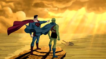 Superman (voiced by Kyle MacLachlan ) and Martian Manhunter (voiced by Miguel Ferrer ) in Warner Premiere's Justice League: The New Frontier