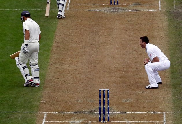 England's Anderson reacts after dismissing New Zealand's Taylor for 31 runs during the third day of their first test cricket match at the University Oval in Dunedin