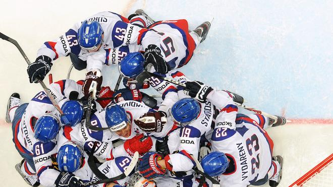 TOPSHOTS Slovakia's Players Celebrate Their Team's Victory 4-3 Over Canada AFP/Getty Images