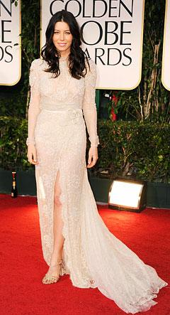 Newly Engaged Jessica Biel Wears Bridal Look at Golden Globes