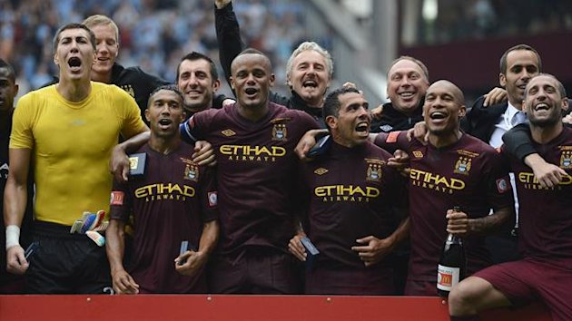 Manchester City celebrate winning the Community Shield (Reuters)