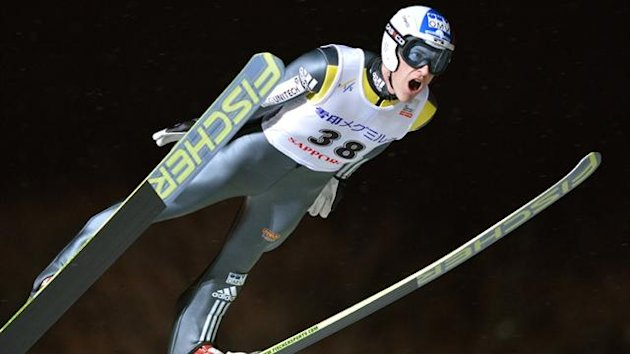 Jan Matura of the Czech Republic jumps during the Ski Jumping World Cup competition in Sapporo (AFP)