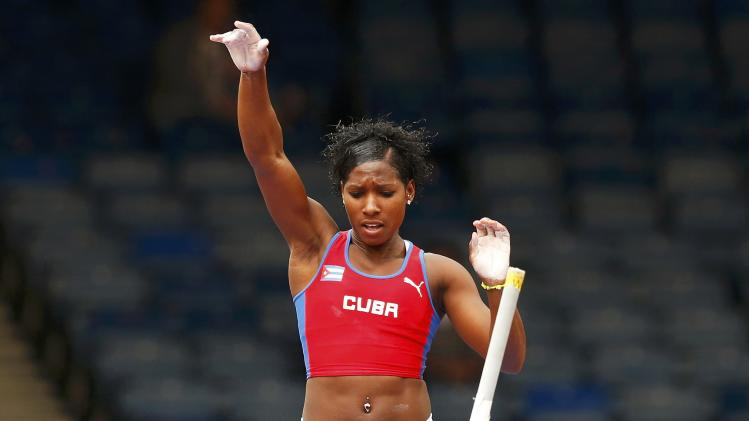Yarisley Silva of Cuba clears the bar during the women's pole vault during the IAAF Diamond League athletics meeting at Hampden Park in Glasgow