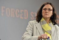 "EU home affairs commissioner Cecilia Malmstroem gives a press conference on June 19 in Brussels. The European Union and the United States called on the rest of world Thursday to join them in a ""global alliance"" to combat child sex abuse on the Internet and track down paedophiles"