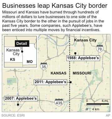 Graphic shows how Applebee's headquarters has moved across the Kansas-Missouri border as a result of a financial incentive tug-of-war.