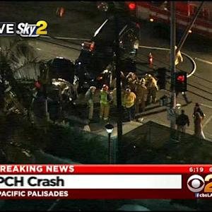 LAFD Crew Extricates Woman From Car Collision In Pacific Palisades