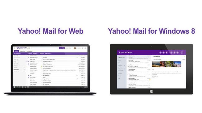 In this undated image made available by Yahoo the company's recently retooled free email service is shown on a web device and tablet. Aside from the new look aimed at regaining some of the ground Yahoo lost to Google's popular alternative, Yahoo introduced Tuesday, Dec. 11, 2012, email apps for the iPhone, iPad and mobile devices running on the new Windows 8 operating system. (AP Photo/Yahoo)