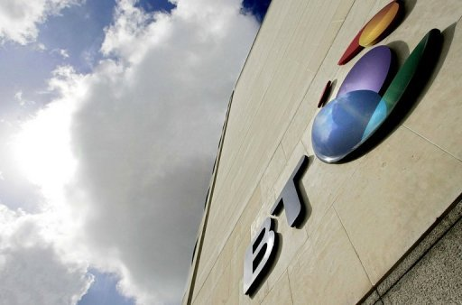 <p>The British Telecom (BT) logo is pictured in London in 2006. BT said on Thursday that quarterly net profits rose 14 percent on the back of deep cost-cutting, and its share price surged after the group ramped up the dividend.</p>