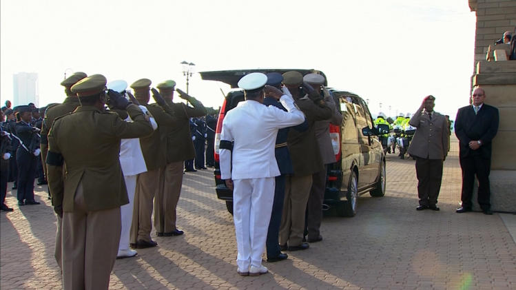 Still image from SABC video shows military personnel behind the hearse carrying the coffin of Nelson Mandela at the Union Buildings in Pretoria