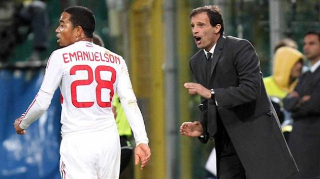 Serie A 2012-13 Milan, Massimiliano Allegri, Urby Emanuelson (AP/LaPresse)