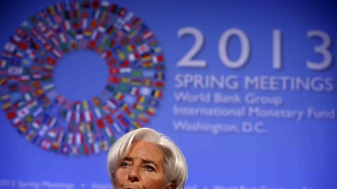 IMF Managing Director Christine Lagarde speaks at a news conference during the Spring Meetings of the World Bank Group and the International Monetary Fund in Washington, Thursday, April 18, 2013. (AP Photo/Charles Dharapak)