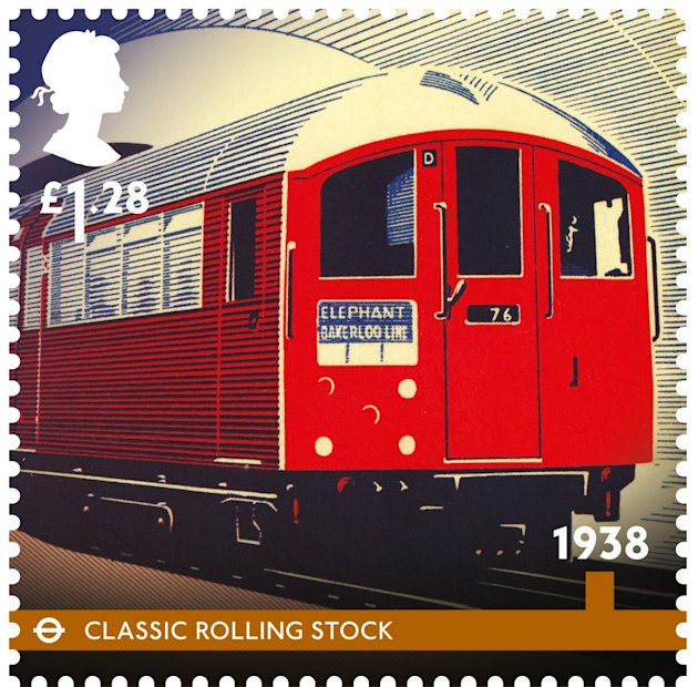 The Classic Rolling Stock, the classic underground train, was introduced in 1938 (Royal Mail)