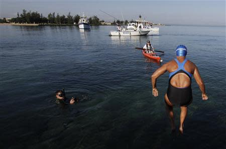 U.S. long-distance swimmer Nyad jumps into the waters of Havana's Hemingway Marina