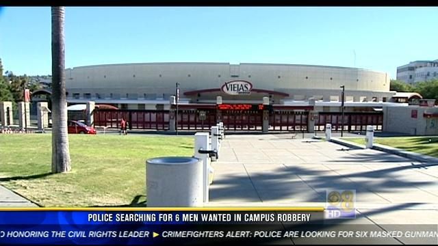 Police searching for 6 men wanted in campus robbery