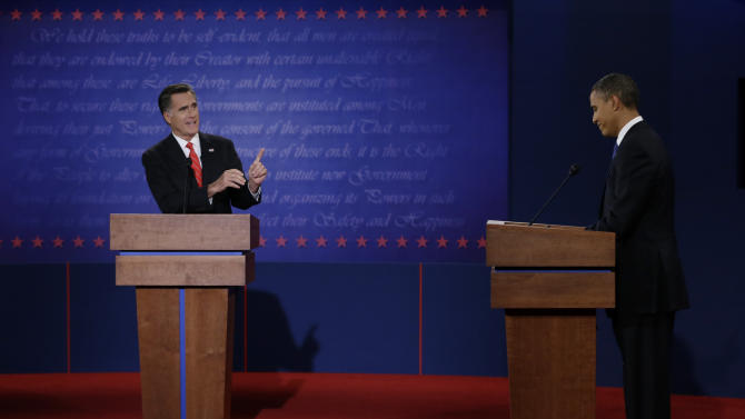 "FILE - In this Oct. 3, 2012 file photo, Republican presidential nominee Mitt Romney points to President Barack Obama during the first presidential debate at the University of Denver in Denver. Romney turned in a commanding performance in the first debate, while Obama was lackluster and disengaged. The contrast was startling, and it reinvigorated the Republican candidate and his supporters.""I had a bad night,"" Obama conceded, and he upped his game for the next two debates. That was enough to satisfy nervous Democrats that their candidate was truly in it to win it. But Romney still was feeling the energy when a most unlikely October surprise upended both sides' game plans in the home stretch of the campaign. (AP Photo/Eric Gay, File)"