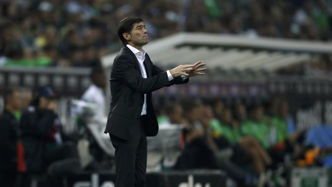 Villareal's coach Toral gestures during Europa League soccer match against Borussia Moenchengladbach in Muenchengladbach