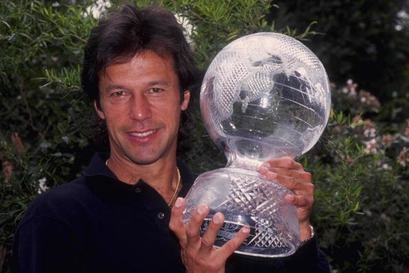Mar 1992:  Imran Khan, the captain of Pakistan displays the Cricket World Cup trophy after his country beat England in the final at the MCG in Melbourne.