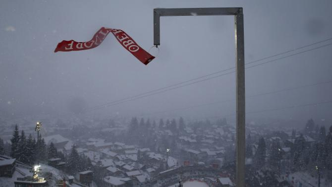 A wind indicator is seen after the trial round for the first jumping of the 63rd four-hills ski jumping tournament was cancelled in Oberstdorf
