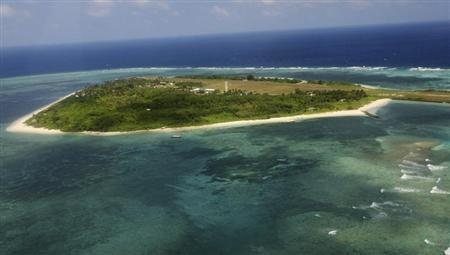 Aerial view of the Pagasa (Hope) Island, part of the disputed Spratly group of islands, in the South China Sea located off the coast of western...