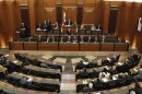 Lebanese members of parliament attend a session in Beirut