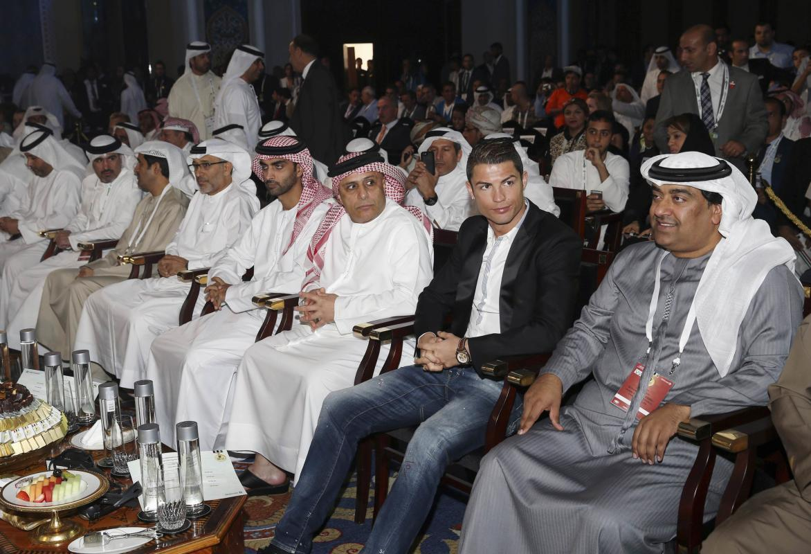 Ronaldo, who plays for Real Madrid and Portugal's national soccer team, attends the eighth Dubai International Sports Conference, in Dubai