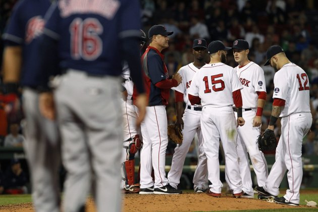 Red Sox manager Farrell stands on the mound during a pitching change in the sixth inning as the Indians face the Red Sox in game at Fenway Park in Boston