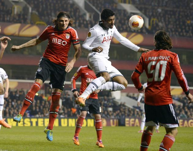 Tottenham Hotspur's Paulinho challenges Benfica's Fejsa during their Europa League soccer match at White Hart Lane in London