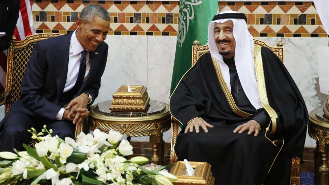 U.S. President Obama meets with Saudi Arabia's King Salman at Erga Palace in Riyadh