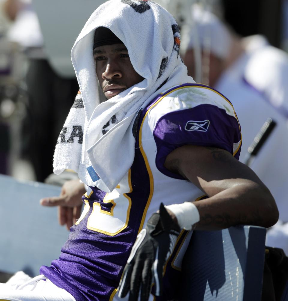Minnesota Vikings defensive back Cedric Griffin sits on the bench during the second half of a NFL football game against the San Diego Chargers Sunday, Sept. 11, 2011, in San Diego.  The Chargers beat the Vikings 24-17. (AP Photo/Gregory Bull)