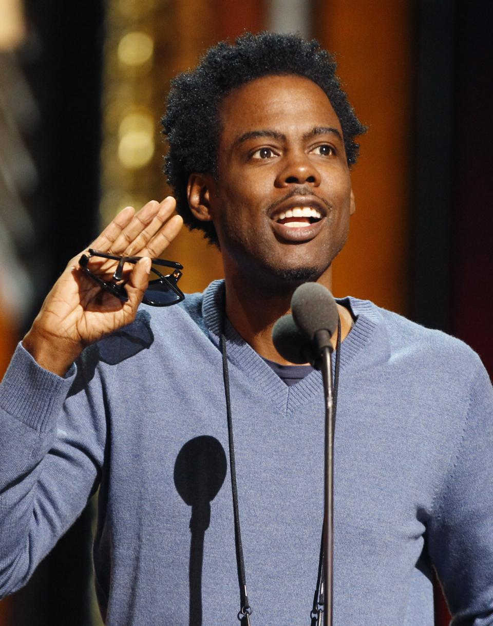 Entertainer Chris Rock rehearses for the 84th Academy Awards, Saturday, Feb 25, 2012 in Los Angeles. (AP Photo/Chris Carlson)