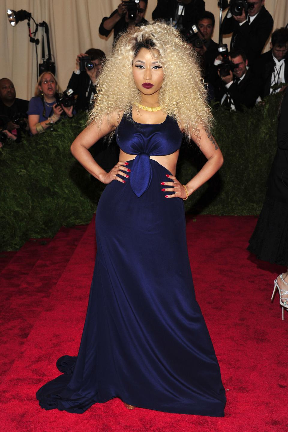 "Nicki Minaj attends The Metropolitan Museum of Art's Costume Institute benefit celebrating ""PUNK: Chaos to Couture"" on Monday May 6, 2013 in New York. (Photo by Charles Sykes/Invision/AP)"