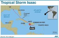 Graphic charting the path of Tropical Storm Isaac, which hits Haiti Friday