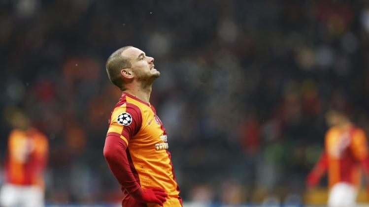 Sneijder of Galatasaray reacts during their Champions League soccer match against Juventus in Istanbul