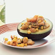 Stuffed Avocado with shrimp-and-corn salad tastes great while delivering a boost of potent anti-aging vitamins B and E.