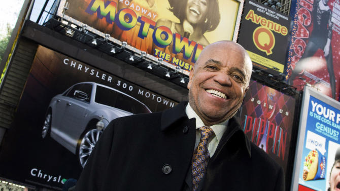 FILE - This March 5, 2013 photo shows Berry Gordy posing for a portrait in Times Square in New York.  Gordy is getting an honor at the upcoming Songwriters Hall of Fame. The organization announced Tuesday, March 12, 2013,  that the Motown founder will receive the pioneer award at their 44th annual induction ceremony June 13 in New York. (Photo by Charles Sykes/Invision/AP)