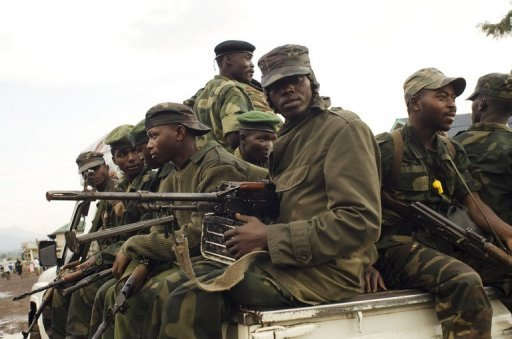 <p>File picture shows M23 rebels in a pick-up truck. UN peacekeepers' attack helicopters failed to stop rebels in the eastern Democratic Republic of Congo from seizing another town, as the Security Council demanded an end to foreign support for rebels closing on a provincial capital.</p>