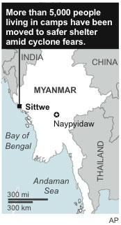 Map shows Sittwe, Myanmar, where evacuations have started due to cyclone predictions