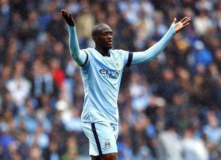 Manchester City's Toure reacts during their English Premier League soccer match against Stoke City at the Etihad stadium in Manchester