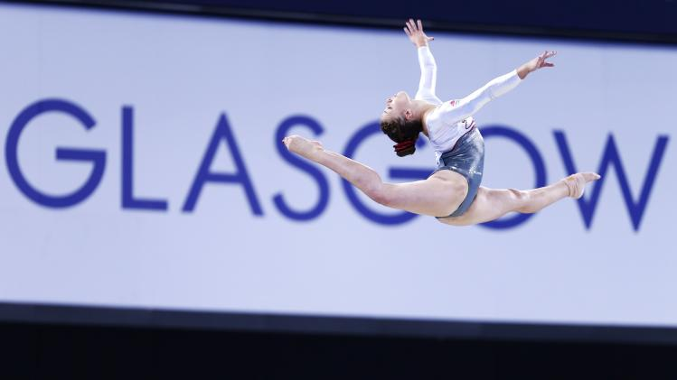 Harrold of England performs on the balance beam during the women's team apparatus final of the artistic gymnastics at the 2014 Commonwealth Games in Glasgow, Scotland